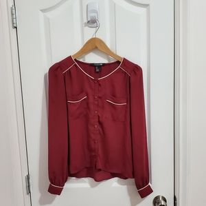 Forever 21 Chiffon Wine Blouse